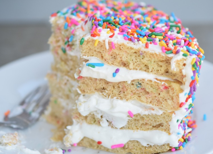 High Protein Funfetti Cake by Food is my Frenemy